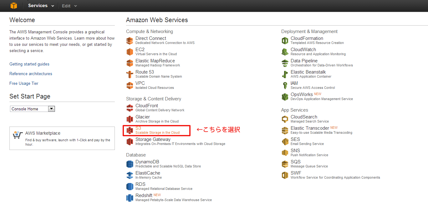 AWS コンソール画面