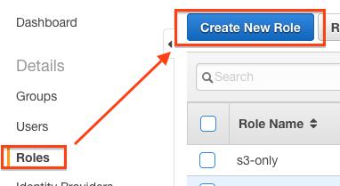 Create IAM Role Button