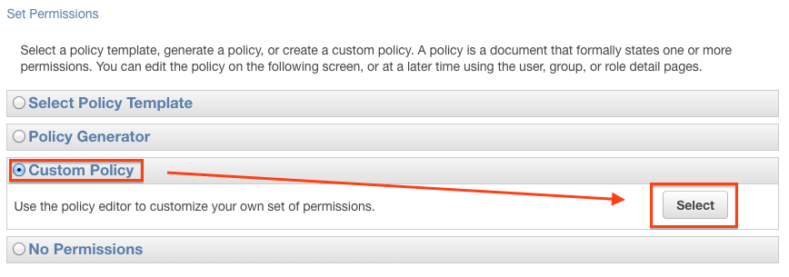 Select Permission Template