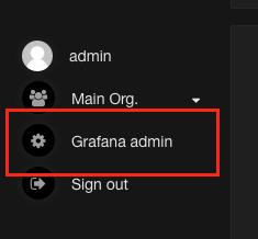Grafana admin button